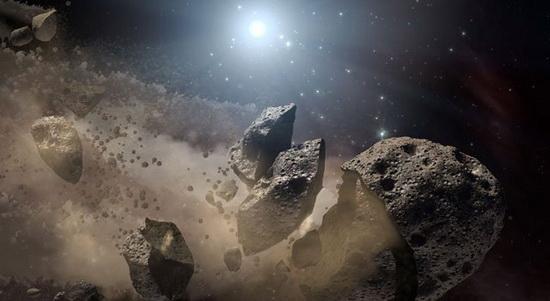 Расколовшийся астероид в представлении художника